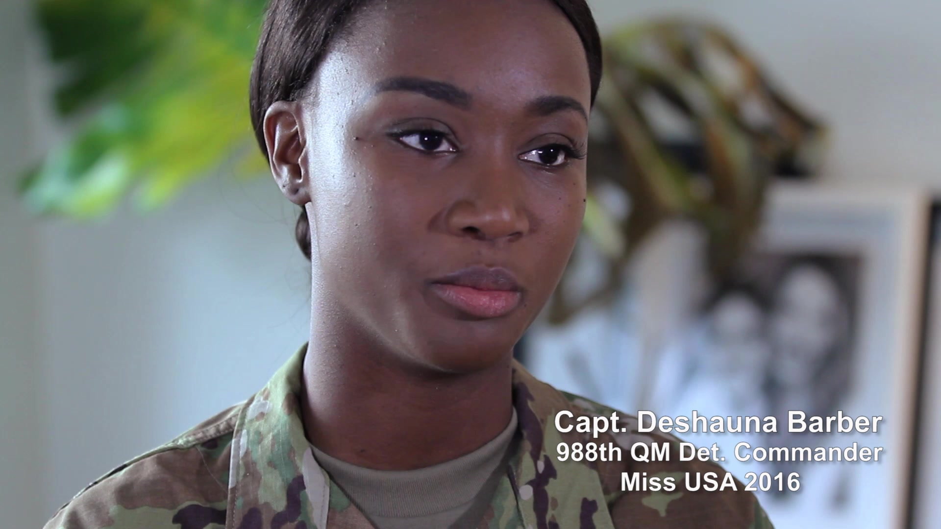 Part 1 of 4 on our series featuring Miss USA 2016, Capt. Deshauna Barber, Commander 988th Quartermaster Detachment. In this episode, CPT Barber talks about growing up in a military family, and choosing to join the service herself.