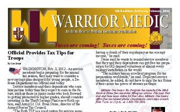 AR-MEDCOM Warrior Medic Monthly Newsletter - 03.14.2012